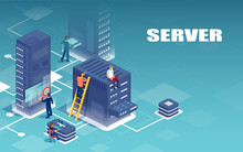 Vector Of Servers Network And Technical Support Personnel