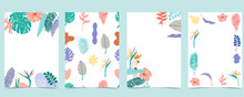 Collection Of Summer Background Set With Palm,flower.Editable Vector Illustration For Invitation,postcard And Website Banner
