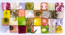 Variety Of Food In Cube Shape ...