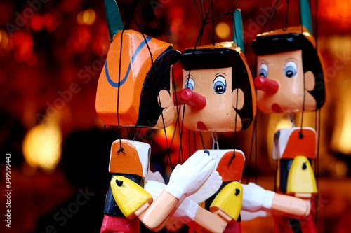 Close-up Of Pinocchio Puppets Canvas Print