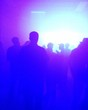 canvas print picture - Silhouette People Dancing At Nightclub With Smoke