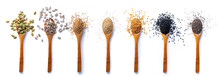 Directly Above Shot Of Various Spices In Wooden Spoons On White Background