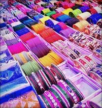 Full Frame Shot Of Colorful Bangles For Sale At Market
