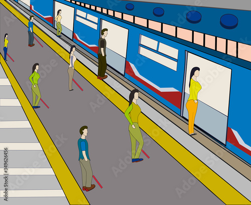 People line up to wait for the train at subway station with the appropriate social distance Canvas Print