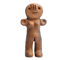 Ancient Clay Female Figurine From Canary Islands Isolated On White Background
