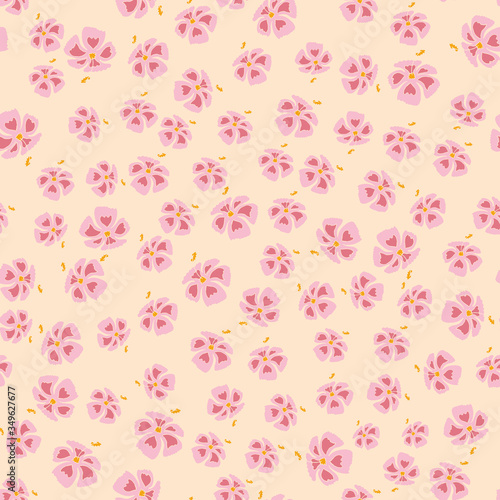 Fényképezés Seamless pattern of exotic flowers in blush pink and   yellow colors