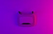 canvas print picture - Wi-Fi router with gradient pink purple neon light. Top view.