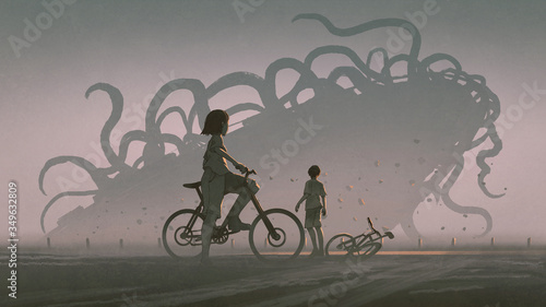 boy and girl looking at giant alien monster at the horizon, digital art style, illustration painting