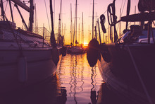 Boats Moored At Harbor During ...