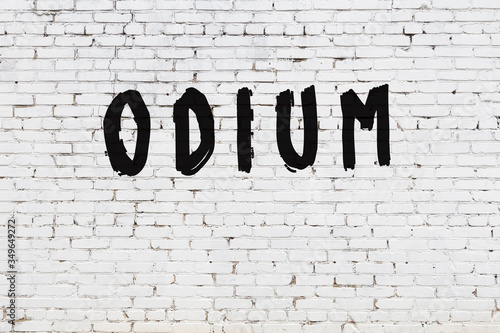White wall with black paint inscription odium on it Canvas Print
