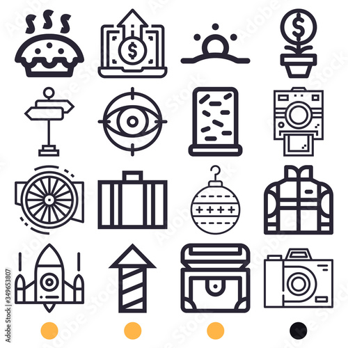 Simple set of 16 lineal icons on following themes {ico_titles} Canvas Print