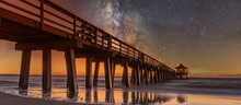 Sunset On The Beach. Old Naples Pier, Florida, America. Travel Concept.