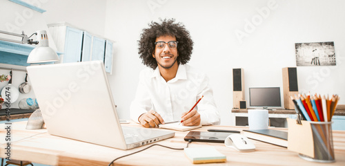 Tablou Canvas Smiling business man working laptop at home work place