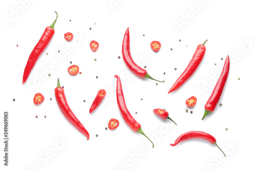 Fotografie, Tablou Hot chili pepper on white background