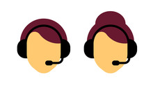 Icon Of The Dispatcher. Call Center Worker Avatar. Male And Female