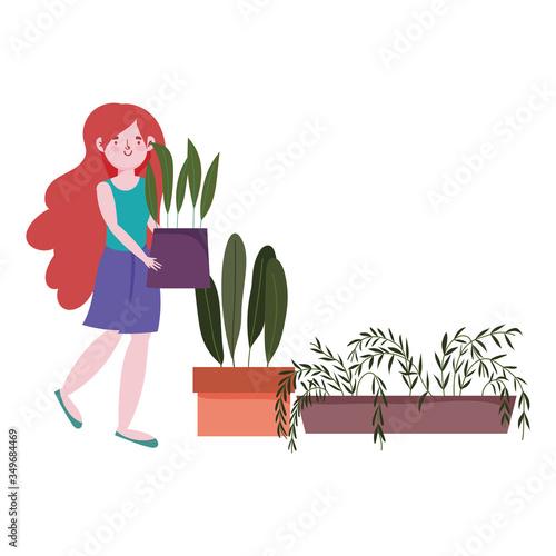 Fototapeta girl holding potted plant gardening in the house cartoon obraz na płótnie