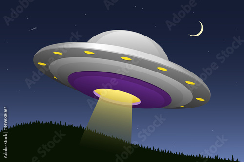 Vector illustraton of a UFO, a flying saucer, against a nighttime background Canvas Print