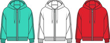 SWEATSHIRT, Hooded Sweat Jacket With Zipper. Hoodie Mockup Template.