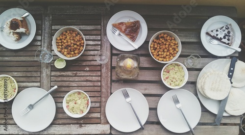 Overhead View Of Table Set For Meal Fotobehang