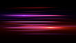Light and stripes moving fast over dark background.design of the light effect. Vector blur in the light of radiance. Element of decor. Horizontal rays of light.