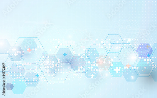 Leinwand Poster Abstract geometric hexagons shape medicine and science concept background