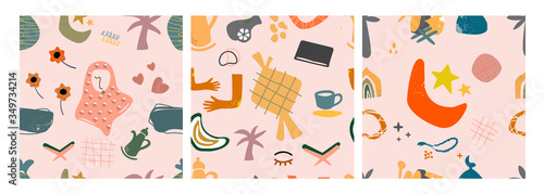 Fototapety, obrazy: Hand drawn various shapes and doodle objects. Islamic themes. Set of three abstract contemporary modern trendy vector seamless patterns. Perfect for textile prints. Every pattern is isolated