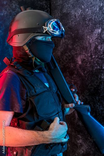 Photo Counterterrorist With Obscured Face Holding Ak-47