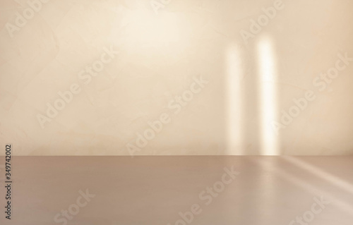 Blank beige product display backdrop template with lights and shadows Wallpaper Mural