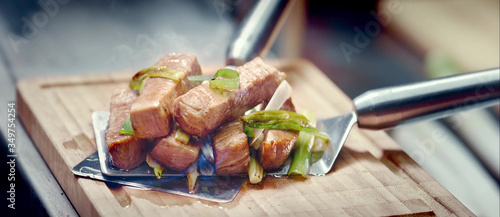 Close-up Of Stir Fried Beef On Cutting Board Canvas Print