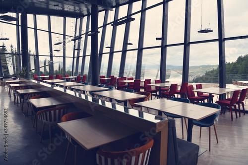 Fototapeta Empty restaurant indoor during coronavirus obraz