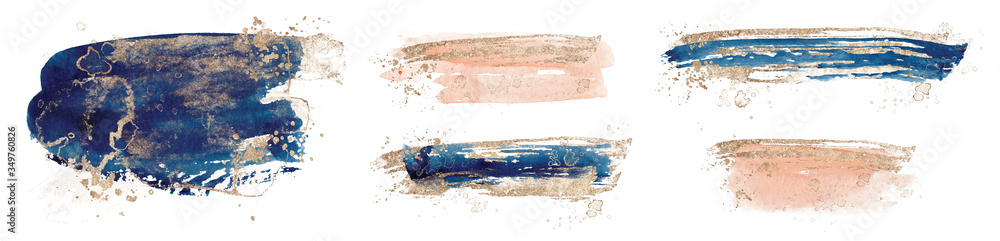 Fototapeta Abstract watercolor  shapes on white background. Color splashing hand drawn vector