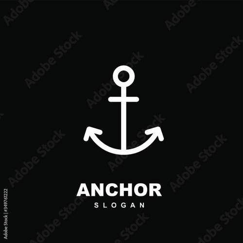 Photo abstract simple line anchor logo icon design vector illustration isolated black