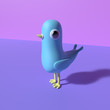 canvas print picture - Abstract poster style with blue bird character with shadow on pink and purple background. 3D rendering objects shape. Minimal