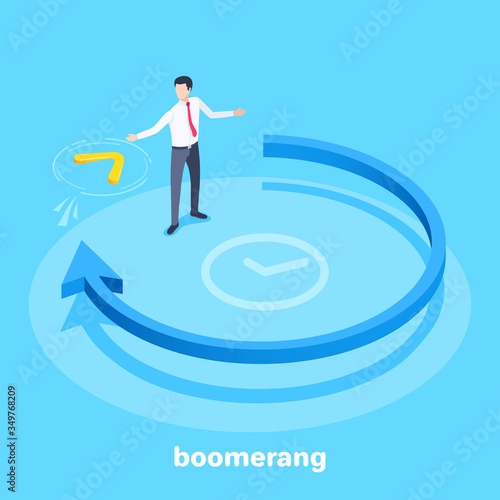 isometric vector image on a blue background, a blue arrow going in a circle and Canvas Print