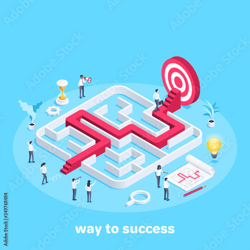 isometric vector image on a blue background, people in business clothes go through the maze, the path to the goal or success, teamwork and business strategy Wall mural