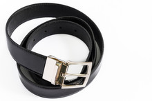 High Angle View Of Belt On White Background