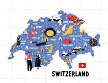Switzerland Map Flat Hand Draw...