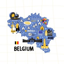 Belgium Map Flat Hand Drawn Vector Illustration. Names Lettering And Cartoon Landmarks, Tourist Attractions Cliparts. Brussels Travel, Trip Comic Infographic Poster, Banner Concept Design