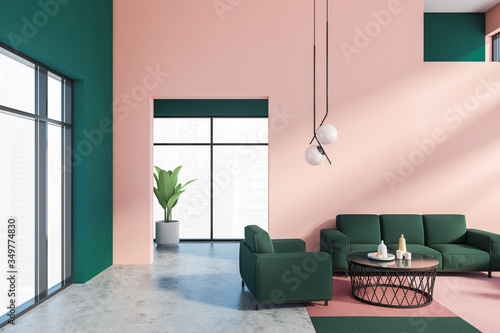 Obraz Pink and green living room, sofa and armchair - fototapety do salonu