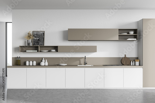 Obraz White and beige kitchen interior with countertops - fototapety do salonu