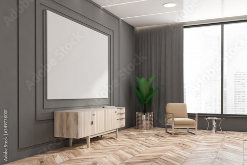 Obraz Grey living room corner with cabinet and poster - fototapety do salonu