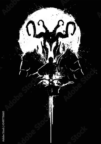Cuadros en Lienzo A silhouette of a demon in a horned helmet, with a sword held to its glowing chest, a white circle behind it, its eyes glowing in its black helmet