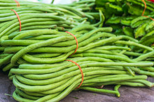 Close-up Of Chinese Long Beans On Table