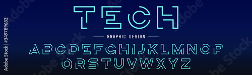 Creative abstract modern digital technology fonts Canvas