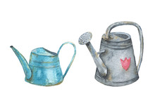 Set Of Two Old Village Watering Cans. Watercolor Hand Draw Illustration.