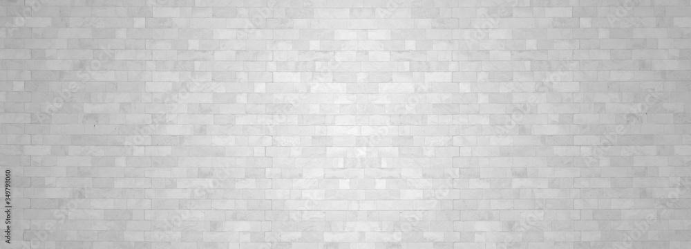Fototapeta White brick wall backgrounds studio room interior texture for display products.