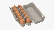 3d Rendering Of Chicken Eggs In Cartons Pack Or Egg Containers, Isolated