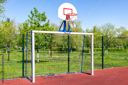 Basketball backboard on the sportground in summer Canvas Print