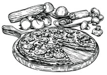 Vector Illustration Of Pizza A...