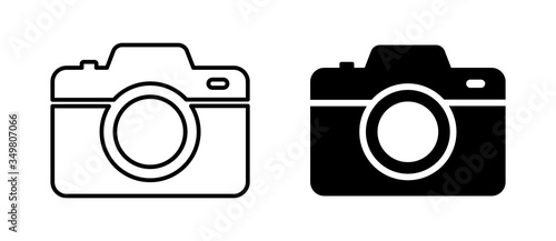 Obraz Camera photo. Vector isolated icon. Digital snapshot image black vector icons. Thin line vector. - fototapety do salonu